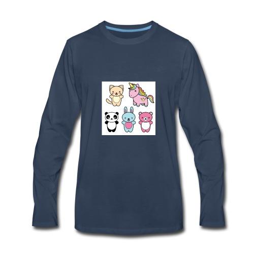 set collection cute kawaii style happy smiling - Men's Premium Long Sleeve T-Shirt
