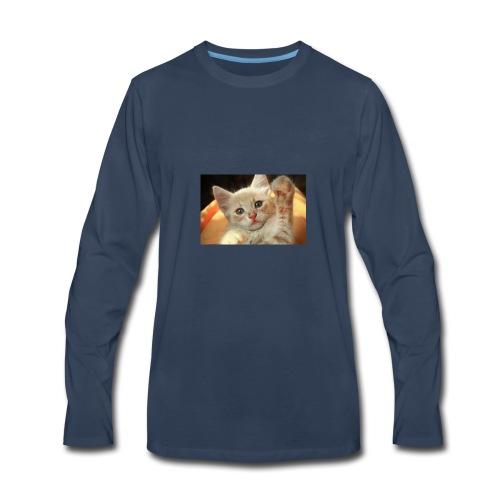 cute kitten high five little light red giving 3032 - Men's Premium Long Sleeve T-Shirt