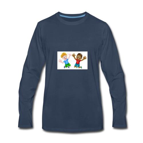 happy cartoon boys young one black one white jumpi - Men's Premium Long Sleeve T-Shirt