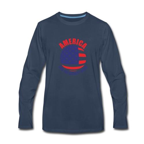 America has the biggest balls Funny Logo - Men's Premium Long Sleeve T-Shirt