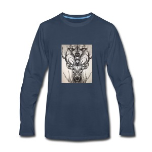 Black Ink Deer And Wolf Head - Men's Premium Long Sleeve T-Shirt