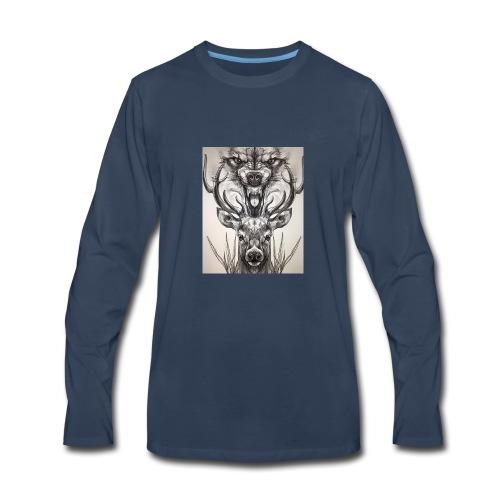 Black Ink Deer And Wolf Head - Men's Premium Long Sleeve T-Shirt