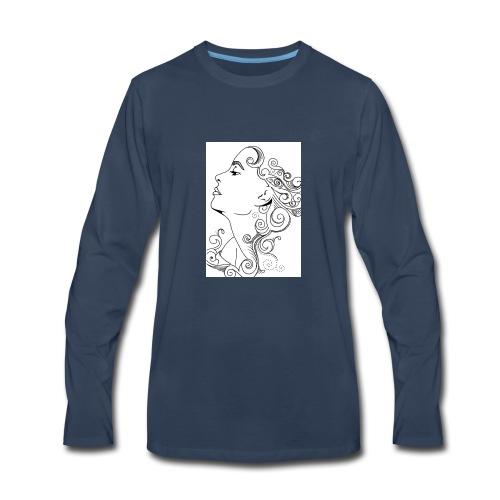 Membuat Doodle Art Wajah 719x1024 - Men's Premium Long Sleeve T-Shirt