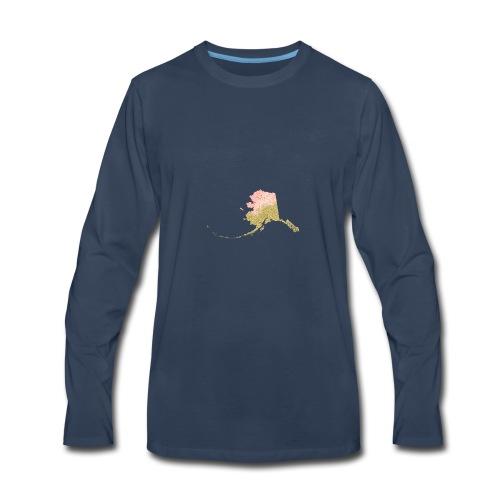 Watercolor Alaska Sate Peach & Gold - Men's Premium Long Sleeve T-Shirt