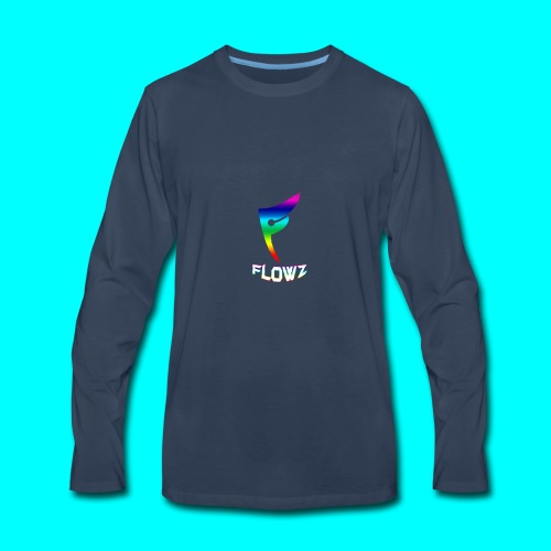 Multi-Colour Flowz Logo With Text - Men's Premium Long Sleeve T-Shirt