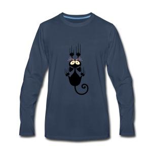 Funny Pets - Scratching Cat - Men's Premium Long Sleeve T-Shirt