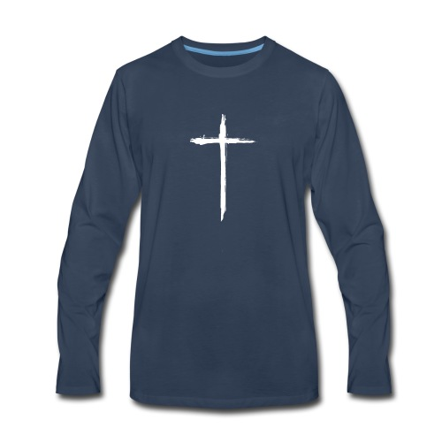 White Cross for Back of Shirt - Men's Premium Long Sleeve T-Shirt