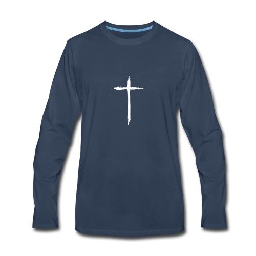 White Cross for Back of Shirt - Men's Premium Long Sleeve T-Shirt