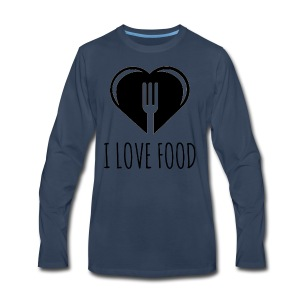 Funny Food Quote I Love To Eat - Heart, Fork Diet - Men's Premium Long Sleeve T-Shirt