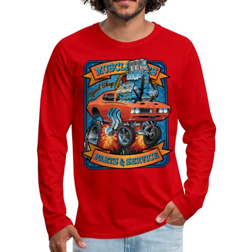 Classic Sixties Muscle Car Parts & Service Cartoon - Men's Premium Long Sleeve T-Shirt