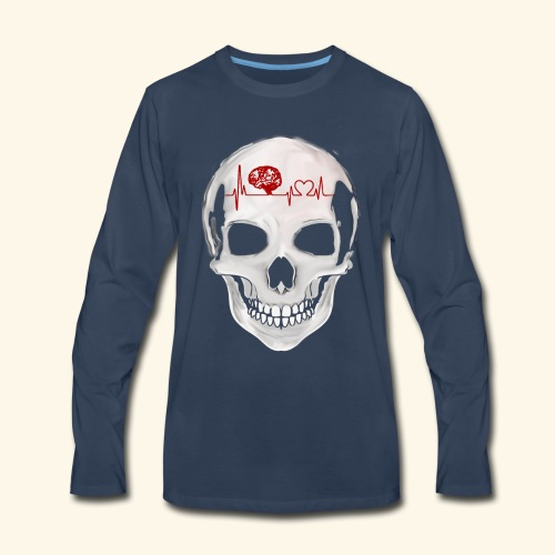 heart beating skull - Men's Premium Long Sleeve T-Shirt