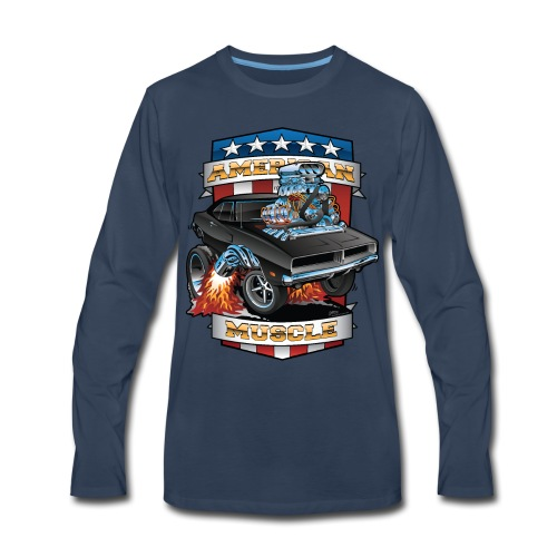 American Muscle Patriotic Muscle Car Cartoon - Men's Premium Long Sleeve T-Shirt