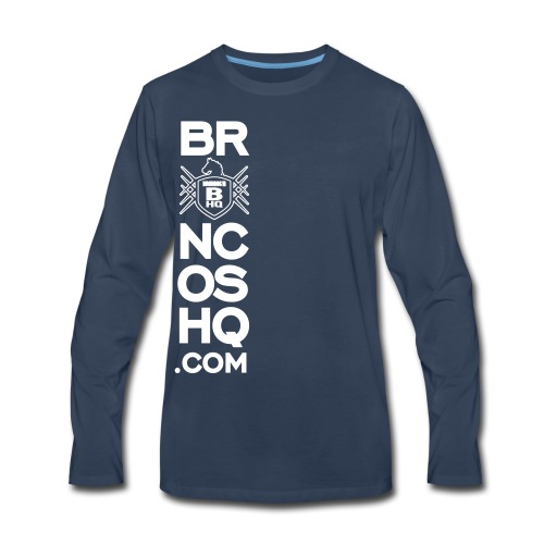 BroncosHQ Vertical Text White - Men's Premium Long Sleeve T-Shirt