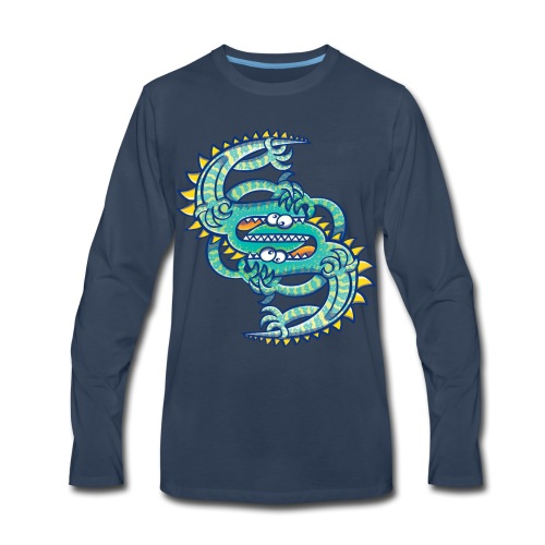 Two brave lizards facing off in a dangerous combat - Men's Premium Long Sleeve T-Shirt
