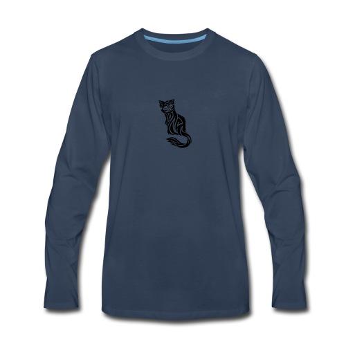 elegant-cat-with-bird-tattoo-design-5 - Men's Premium Long Sleeve T-Shirt