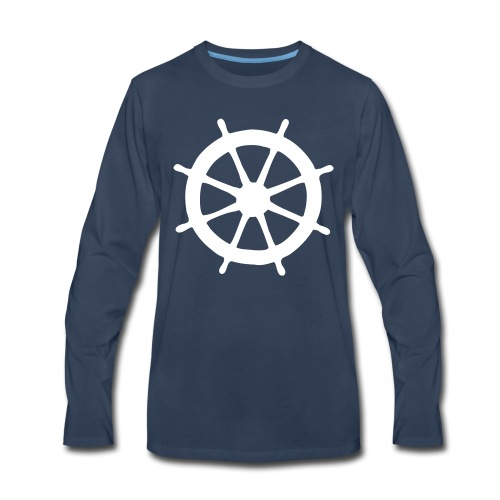 Steering Wheel Sailor Sailing Boating Yachting - Men's Premium Long Sleeve T-Shirt