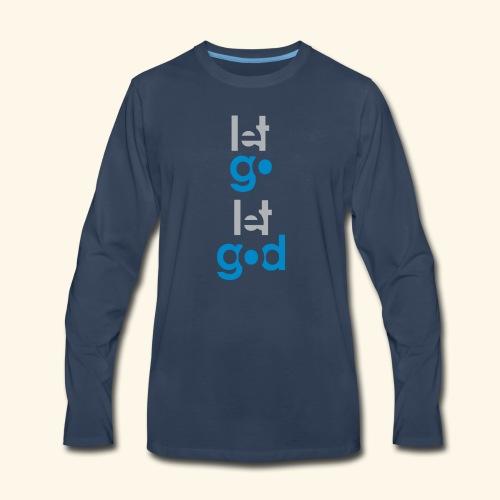LET GO LET GOD GREY/BLUE #7 - Men's Premium Long Sleeve T-Shirt