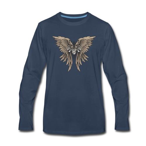 Skulls and Wings Illustration - Men's Premium Long Sleeve T-Shirt