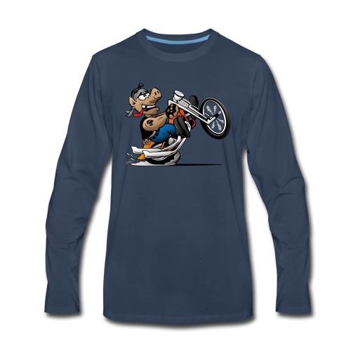 Biker Hog Motorcycle Cartoon - Men's Premium Long Sleeve T-Shirt