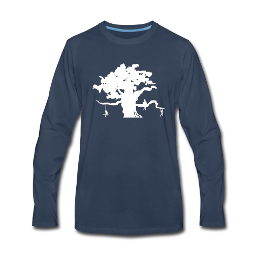 Oak Tree with children playing - Men's Premium Long Sleeve T-Shirt