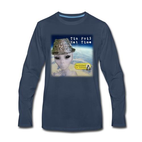 Tin Foil Hat Time (Earth) - Men's Premium Long Sleeve T-Shirt