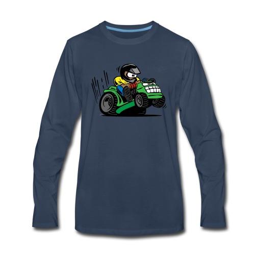 Racing Lawn Mower Cartoon - Men's Premium Long Sleeve T-Shirt
