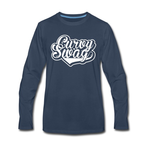 Curvy Swag Reversed Out Design - Men's Premium Long Sleeve T-Shirt
