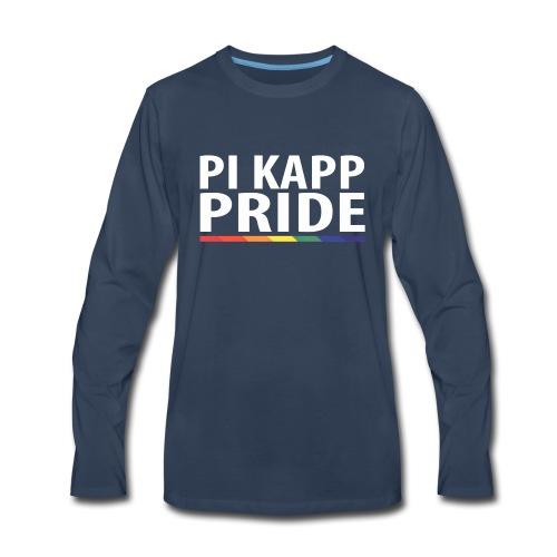 PKPride Stacked Design w Rainbow Stripe White Tex - Men's Premium Long Sleeve T-Shirt