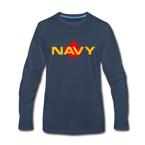 Navy Logo on Maple Leaf - Men's Premium Long Sleeve T-Shirt