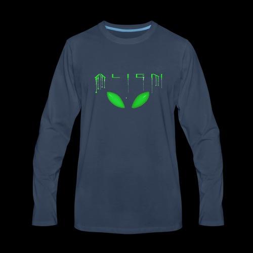 Alien Dribble with ET eyes - Green - Men's Premium Long Sleeve T-Shirt