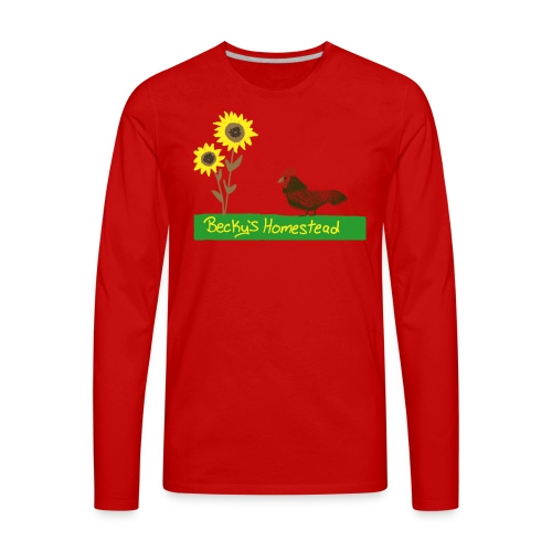 Chicken and Sunflowers - Men's Premium Long Sleeve T-Shirt
