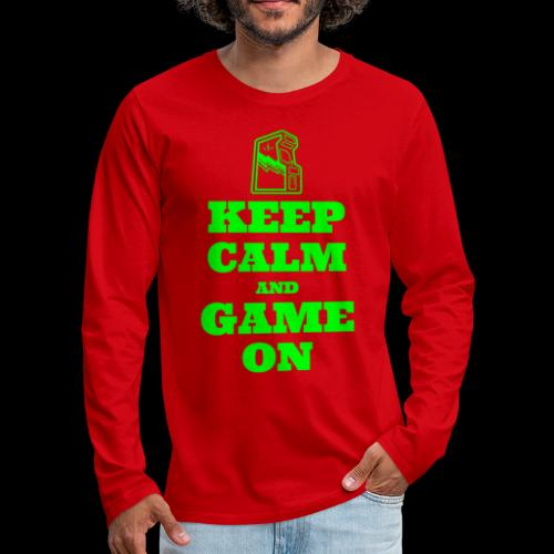 Keep Calm and Game On | Retro Gamer Arcade - Men's Premium Long Sleeve T-Shirt