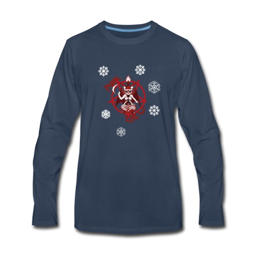 Purr evil Christmas pixel art cat - Men's Premium Long Sleeve T-Shirt