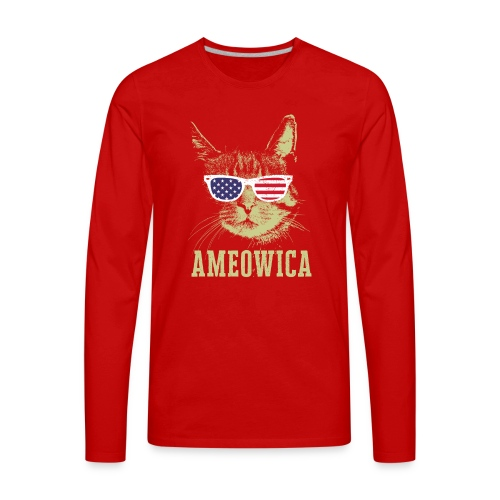 Ameowica Shirt Funny Cat Daddy Shirt for Men - Men's Premium Long Sleeve T-Shirt