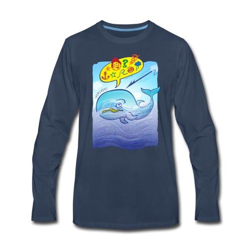Menaced wild blue whale saying bad words - Men's Premium Long Sleeve T-Shirt