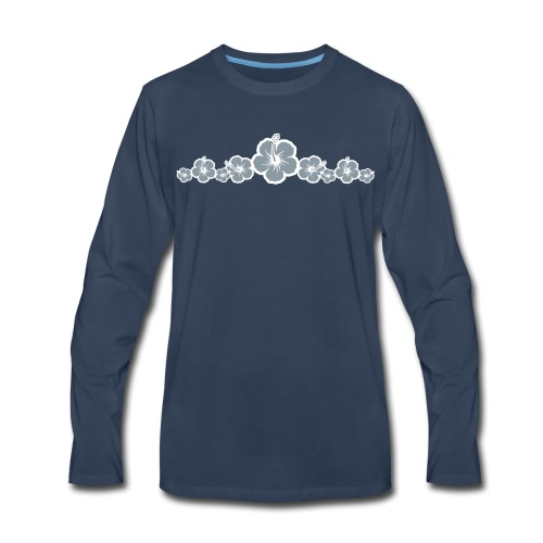 Hawaiian Hibiscus Flowers - Surfing Style - Men's Premium Long Sleeve T-Shirt