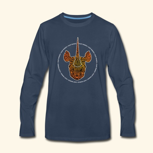 Dust Rhinos Orange Knotwork - Men's Premium Long Sleeve T-Shirt