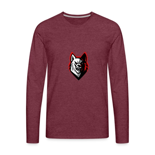 clean wolf logo by akther brothers no watermark - Men's Premium Long Sleeve T-Shirt