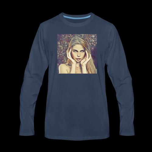 headache , beautiful woman, dream, focus - Men's Premium Long Sleeve T-Shirt