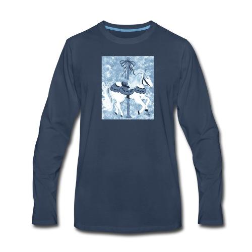 Carousel Horse Merry Go Round Blue Gray - Men's Premium Long Sleeve T-Shirt