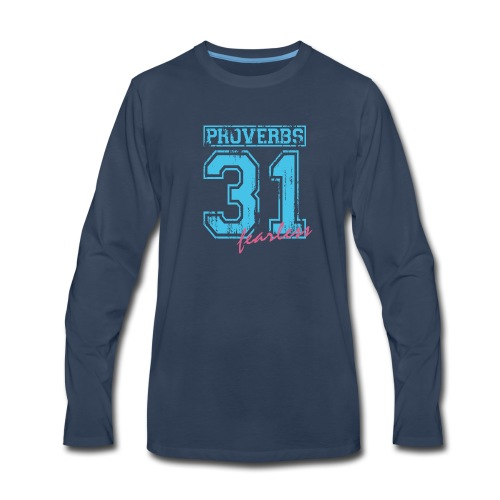 Proverbs 31 Fearless_blue 0002 - Men's Premium Long Sleeve T-Shirt