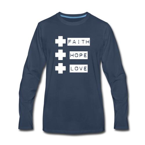 3 crosses , faith hope love - Men's Premium Long Sleeve T-Shirt