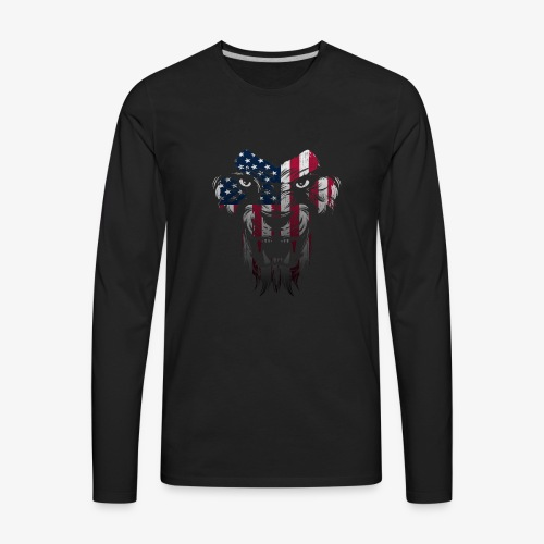 American Flag Lion Shirt - Men's Premium Long Sleeve T-Shirt