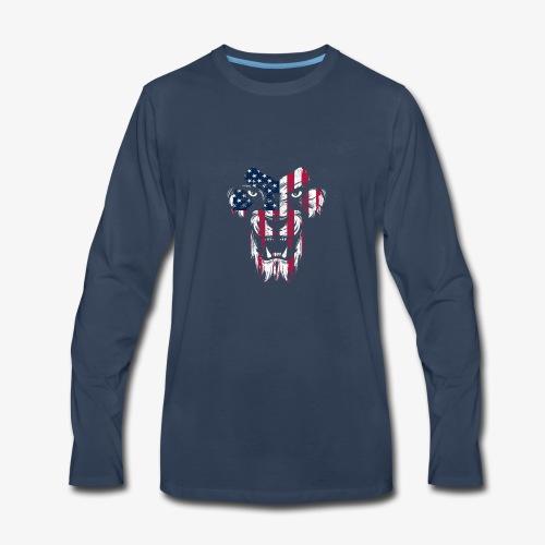 American Flag Lion - Men's Premium Long Sleeve T-Shirt