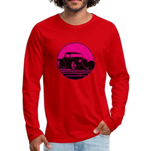 Retro Hot Pink Hot Rod Grungy Sunset Illustration - Men's Premium Long Sleeve T-Shirt