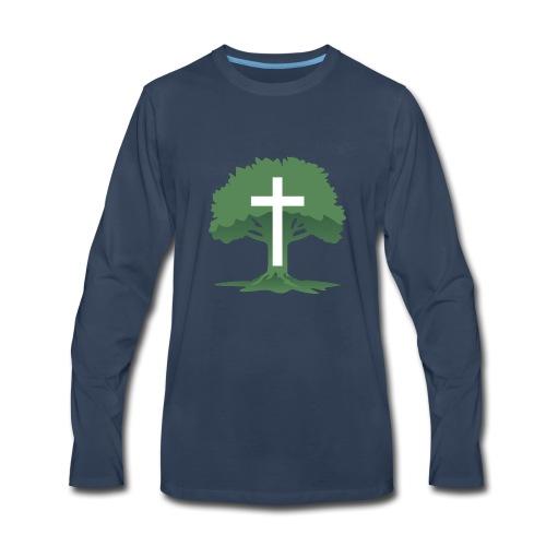 Christian Cross with Tree of Life - Men's Premium Long Sleeve T-Shirt
