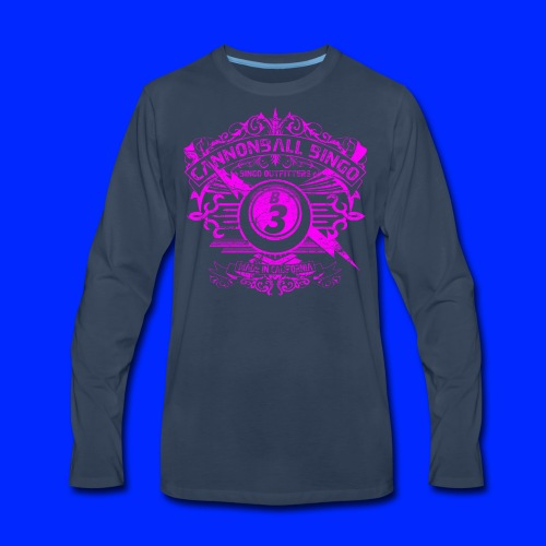 Vintage Cannonball Bingo Crest Pink - Men's Premium Long Sleeve T-Shirt