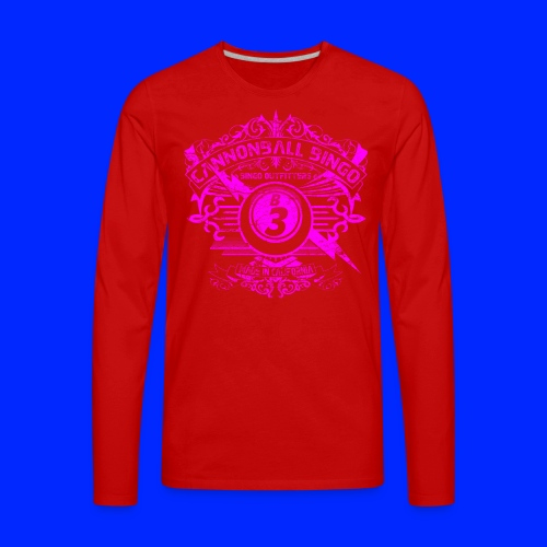 Vintage Cannonball Bingo Crest Pink - Men's Premium Long Sleeve T-Shirt