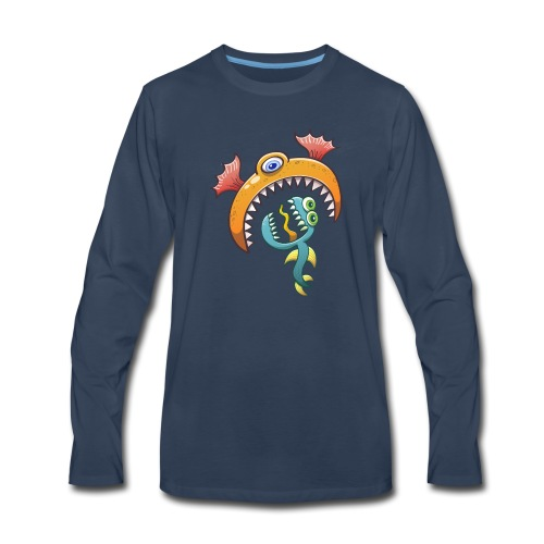 One-eyed sea monster eats a scared ugly creature - Men's Premium Long Sleeve T-Shirt