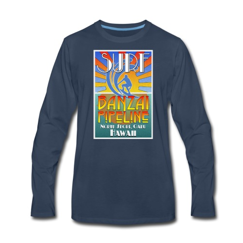 Banzai Pipeline, North Shore, Oahu, Art Deco Style - Men's Premium Long Sleeve T-Shirt